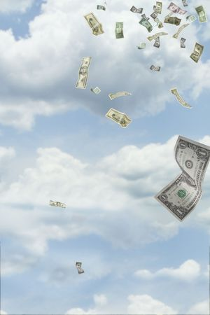 Dollars falling from the sky Stock Photo