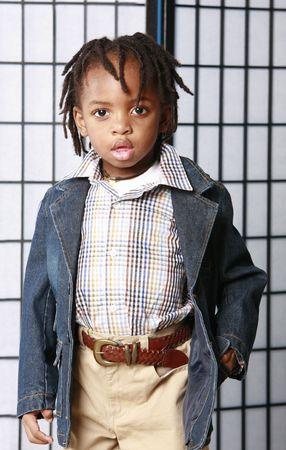 Little boy in a denim jacket