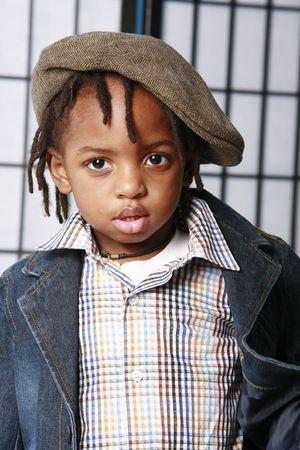 Little boy in a hat Stock Photo
