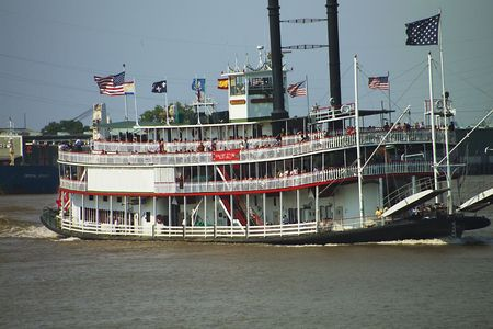 Paddle steamer on the Mississippi Stock Photo