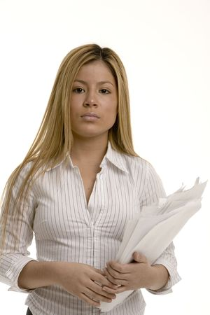 armful: Woman with an armful of papers