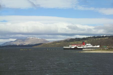 loch lomond: Pleasure steamer on Loch Lomond in Scotland Stock Photo