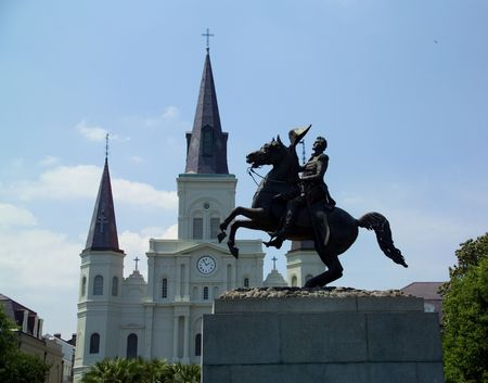 jackson: Statue of General Andrew Jackson in New Orleans before the St Louis Cathedral