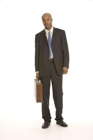 black business man: Jeune homme noir daffaires avec le r�sum� Banque d'images