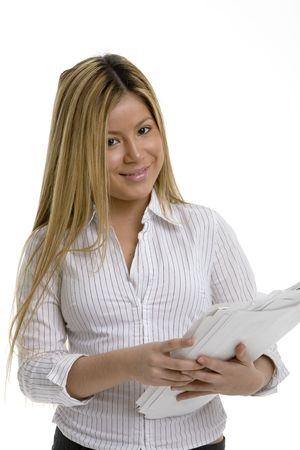 Young woman with papers and a smile Stock Photo