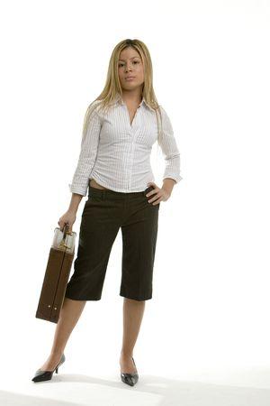 capri pants: Young business woman Stock Photo