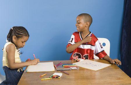 Happy children drawing Stock Photo - 421791