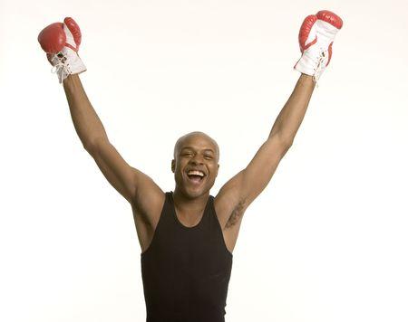 Celebrating champion Stock Photo
