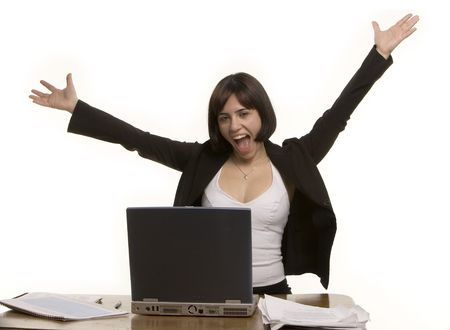 jubilation: Happy woman at her desk