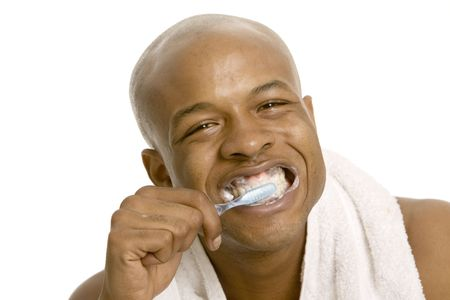 Cleaning teeth Stock Photo