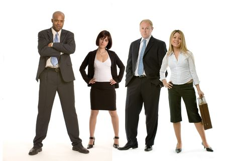 succesful woman: Four business colleagues on white background