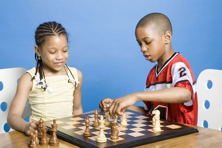 black children: Chess match Stock Photo