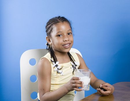 snack time: Pretty little girl at snack time