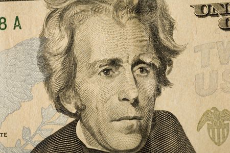 Portrait of president Jackson on US twenty dollar bill