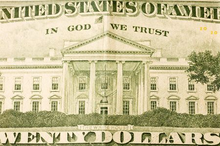 Drawing of the White House taken from the back of an American twenty dollar bill Stock Photo