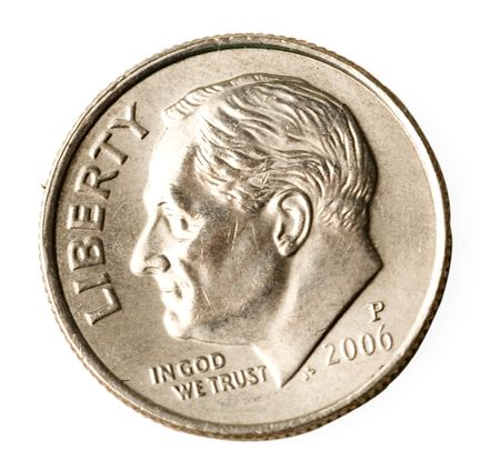 Portait of President Roosevelt on American dime or ten cent coin Stock Photo