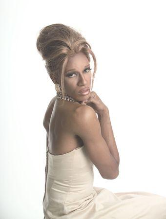 drag artist in blond wig