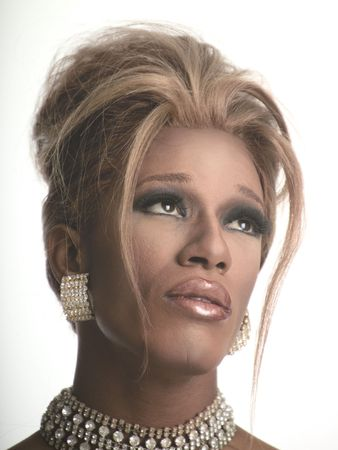 transvestite: blonde drag artist Stock Photo