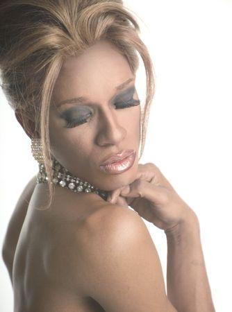 drag artist wearing a diamond collar photo