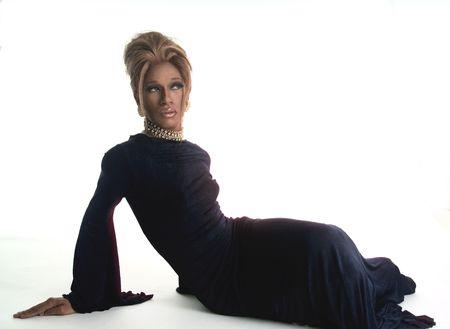 drag artist in a black dress photo
