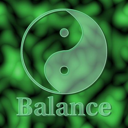 concept: Balance illustrated with a glass yin yang symbol on green - raster illustration.