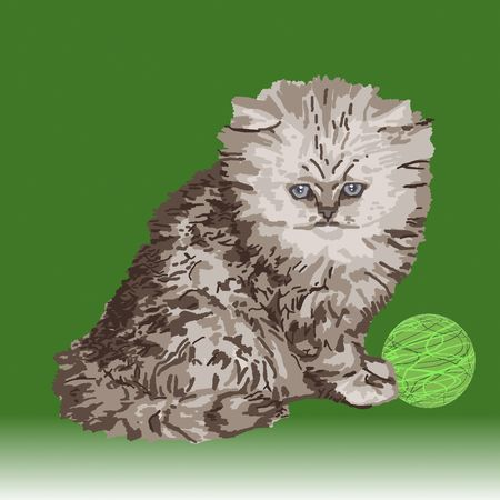 Gray Persian kitten sitting beside a ball of green yarn.