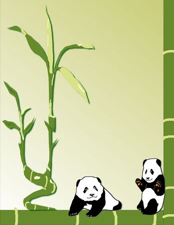 Two baby pandas happily sit surrounded by bamboo - a raster illustration. illustration