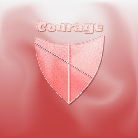 The concept of courage illustrated with a shield on red - a raster illustration.