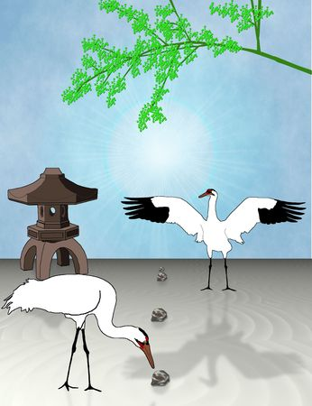 Two whooping cranes curiously investigate a Japanese Zen garden - a raster illustration. Banco de Imagens