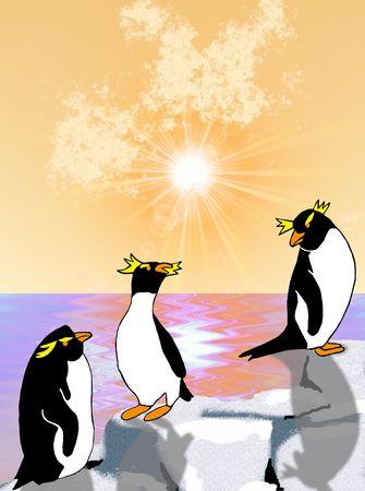chilling: Rockhopper penguins chilling on the rocks as the sun sets over the ocean - a raster illustration.