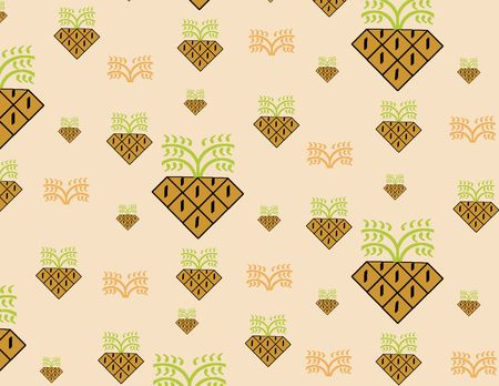 Stylized pineapples on a peach colored background giving a retro feeling - a raster illustration. illustration