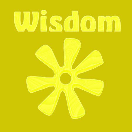 Wijsheid geïllustreerd door het Afrikaanse symbool van ananse ntontan in geel - een raster illustratie.