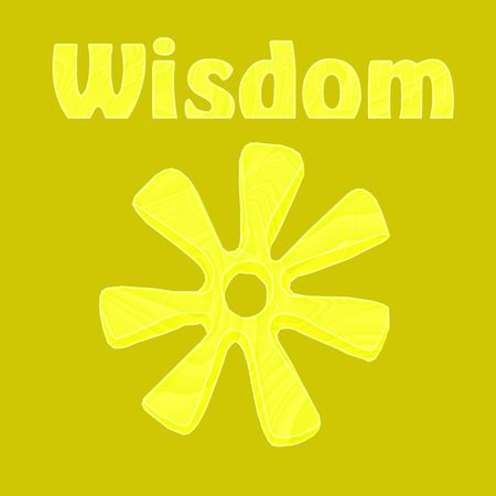 Wisdom illustrated by the African symbol of ananse ntontan in yellow - a raster illustration. Фото со стока