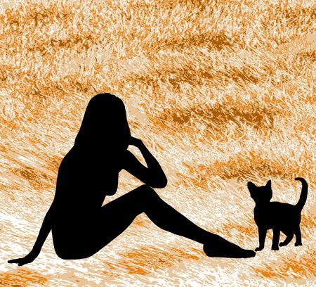 naked woman sitting: A silhouette woman and cat against a cat fur background. Stock Photo