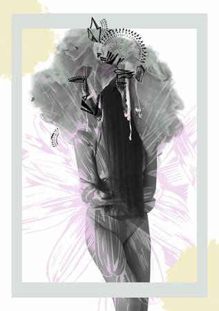 Jeune fille avec des fleurs  Banque d'images - 65686252