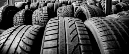 Tire stack background. Selective focus. Stok Fotoğraf - 150557388