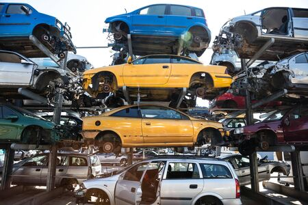 Recycling of old,used, wrecked cars. Dismantling for parts at scrap yards Foto de archivo