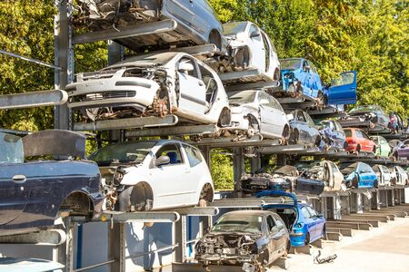 Recycling of old,used, wrecked cars. Dismantling for parts at scrap yards Stok Fotoğraf