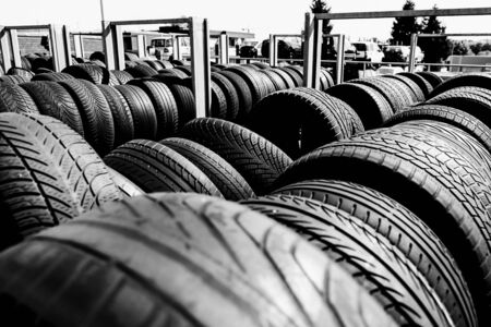 Tire stack background. Selective focus. Stok Fotoğraf