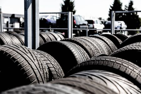 Tire stack background. Selective focus. Stok Fotoğraf - 150558257