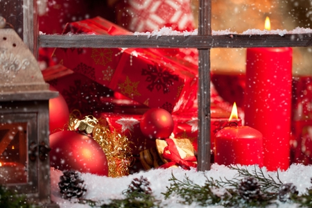 Christmas still life with old wooden window. Celebration background
