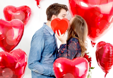 Portrait of cute Women with balloons heart Valentinsday