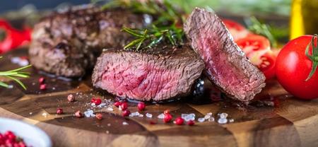 Fresh Juicy Medium Rare Beef Grillsteak. Barbecue Meat Close Up.