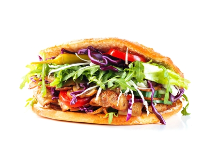 Delicious kebab sandwich isolated on white background 版權商用圖片