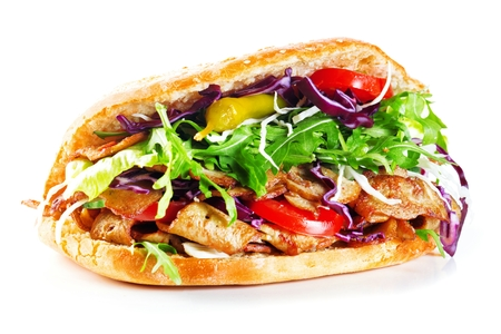 Delicious kebab sandwich isolated on white background 스톡 콘텐츠