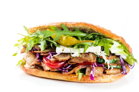 Delicious kebab sandwich isolated on white background Banco de Imagens
