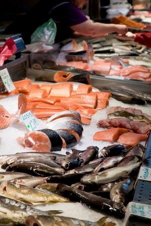 Fish market, fresh fish in street market, fresh fish, social issue, fish market street market. Stock Photo