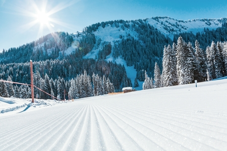View of mountains and ski slopes in Austria