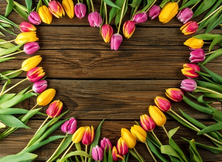 Frame of fresh tulips arranged on old wooden background.