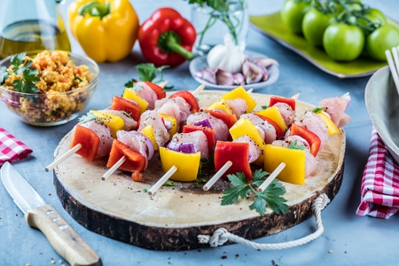 Grilled skewers of vegetables and meat on the Table